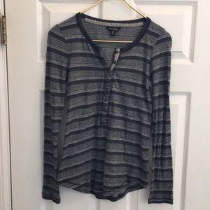 Lucky Brand XS top henley tunic stripe gray black